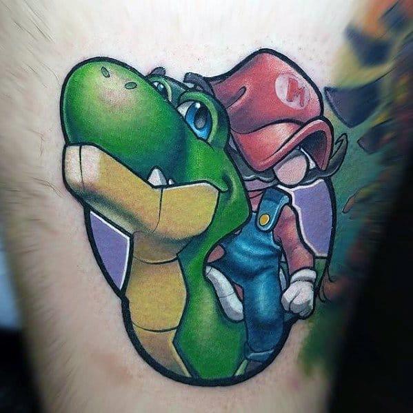 3d Thigh Creative Yoshi With Mario Tattoos For Men