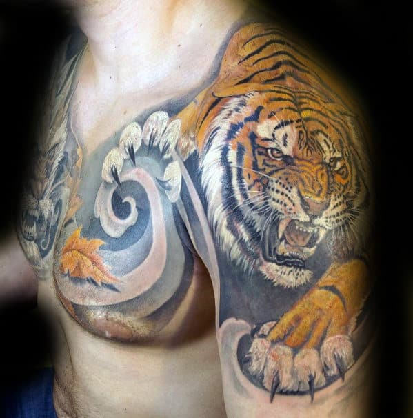 3d Tiger With Leaf Blowing In The Wind Mens Sweet Chest And Arm Tattoos