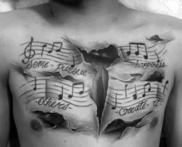 3d Torn Paper Chest Mens Cool Music Staff Tattoo Ideas