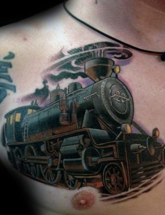 3d Train Guys Upper Chest Cover Up Tattoo Design Ideas