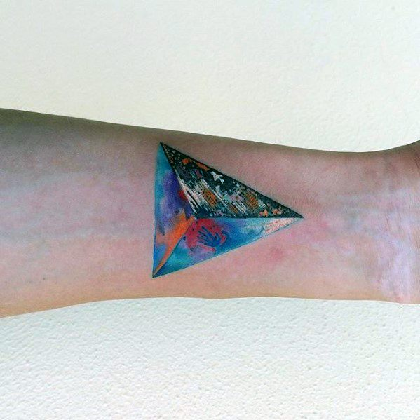 3d Triangle Colorful Mens Artistic Inner Forearm Small Tattoo