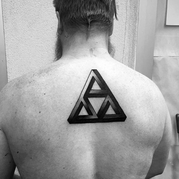 3d Triangle Simple Geometric Mens Upper Back Tattoo
