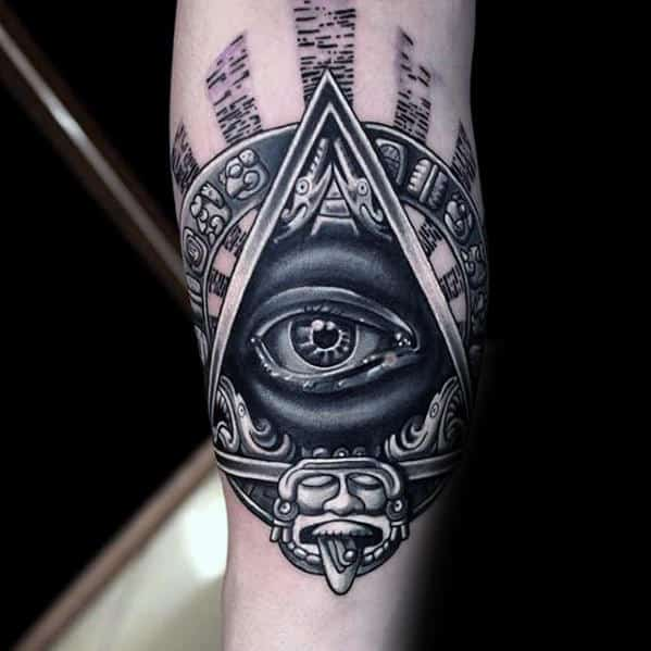 3d Tribal Eye Of Providence Mens Forearm Tattoo