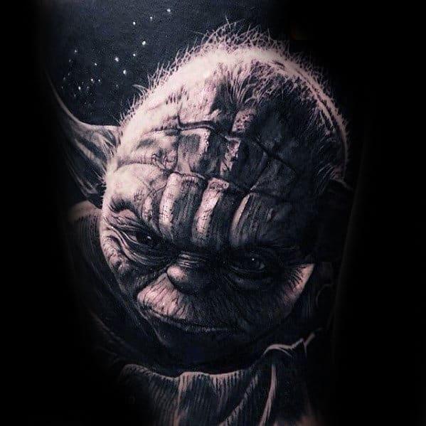 3d Ultra Realistc Sleeve Tattoo Of Yoda For Guys