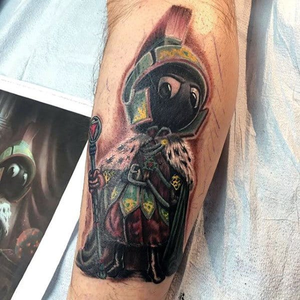3d Unique Mens Marvin The Martian Back Of Leg Tattoos