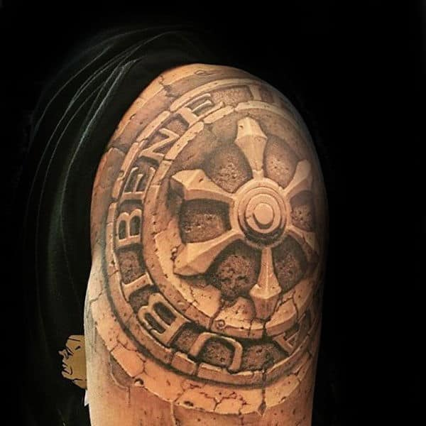 80 stone tattoo designs for men carved rock ink ideas