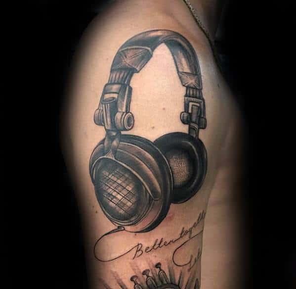 3d Upper Arm Male Headphones Tattoo Designs