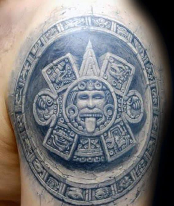 3d Upper Arm Stone Mayan Calender Tattoos For Gentlemen
