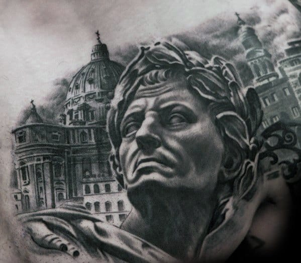 3d Upper Chest Male Tattoo With Roman Statue Design