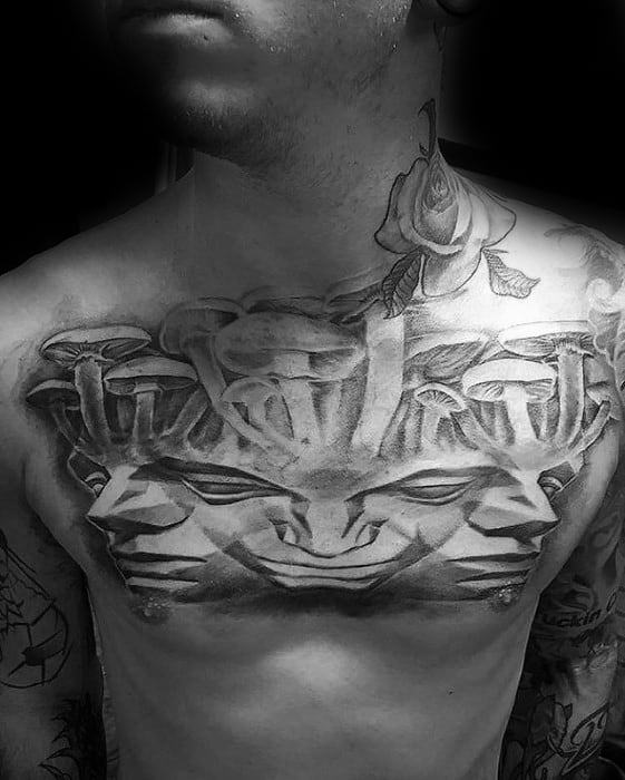 3d Upper Chest Trippy Mushroom Male Tattoos