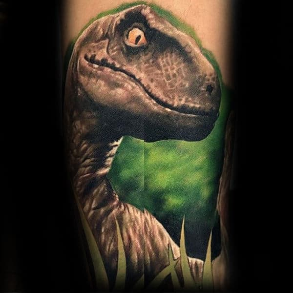 3d Velociraptor With Green Watercolor Background Mens Tattoo