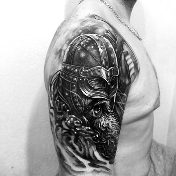 3d Viking Arm Tattoo For Gentlemen