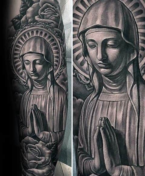 3d Virgin Mary Black And Grey Ink Sleeve Tattoo Designs