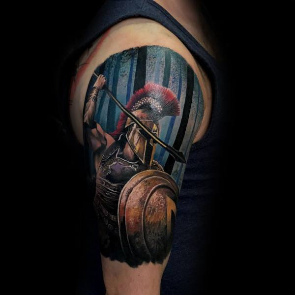 3d Warrior Shield Half Sleeve Tattoos For Guys