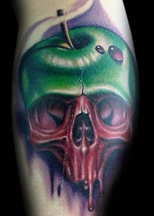 3d Water Drop On Green Apple With Skull Mens Bicep Tattoos