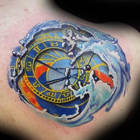 3d Water Geometric Guys Aquarius Shoulder Tattoo
