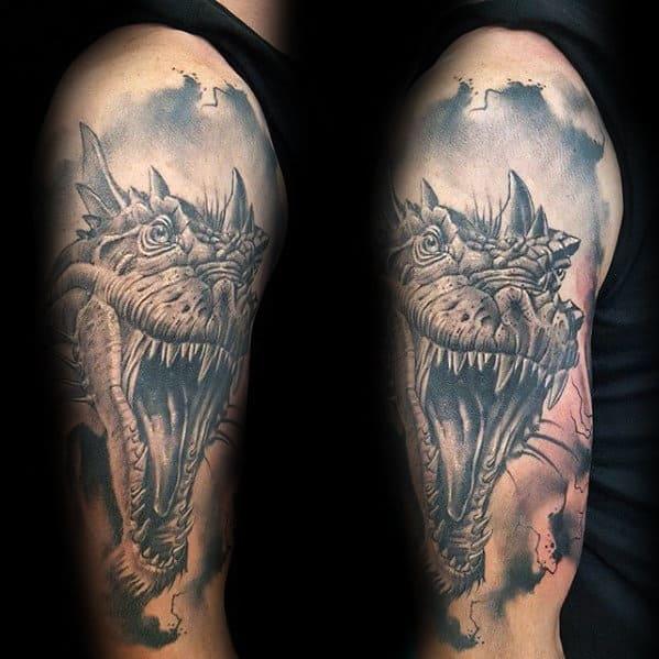3d Watercolor Dragon Guys Arm Tattoos