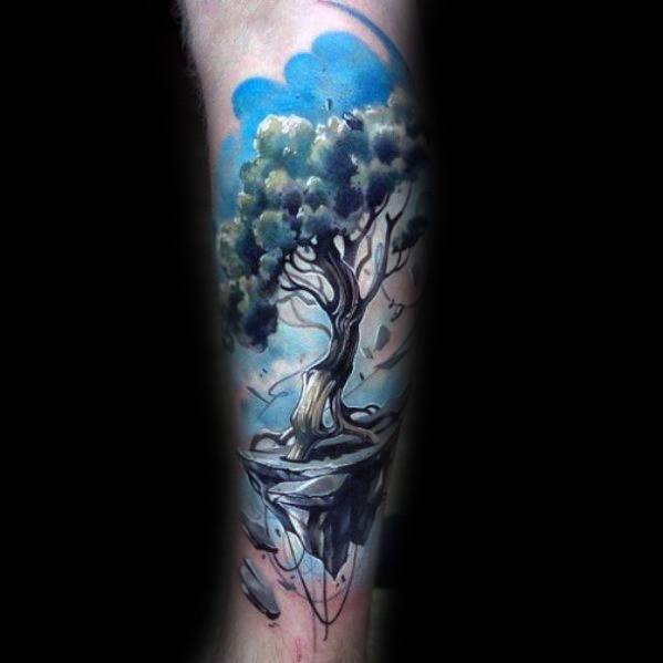 3d Watercolor Mens Tree Leg Tattoo Designs