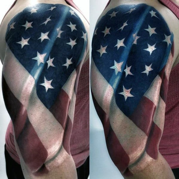 3d Waving American Falg Awesome Guys Half Sleeve Tattoos