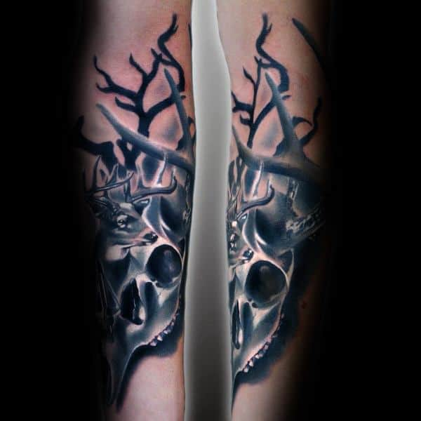 3d White Deer Skull Bowhunting Mens Forearm Tattoos