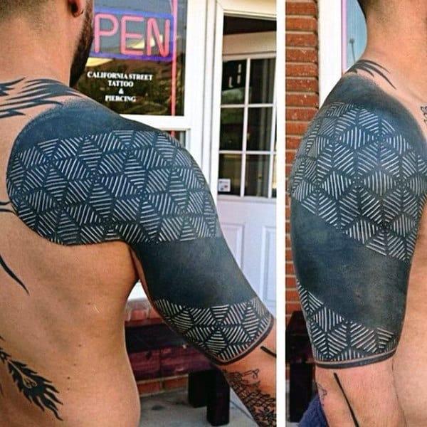 3d White Ink Half Sleeve Mens Tattoo Design Ideas