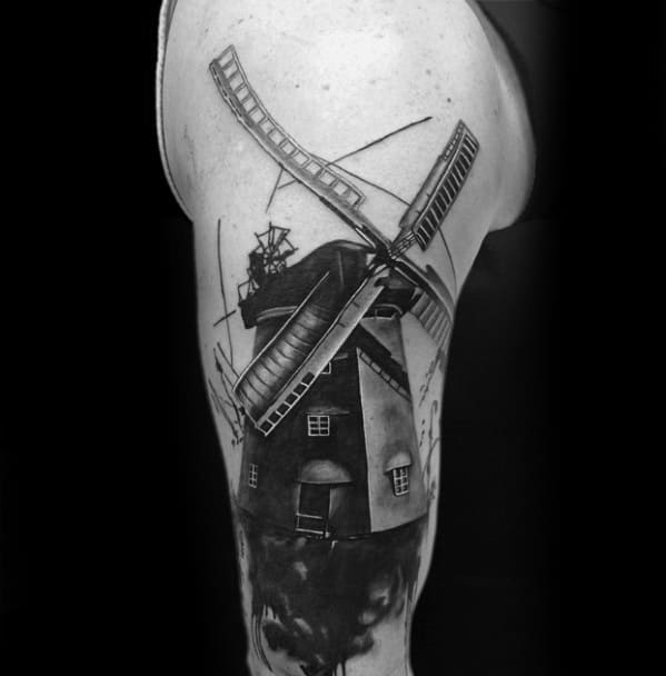 3d Windmill Male Arm Tattoo Ideas