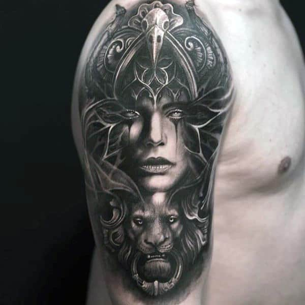 3d Window Female Portrait Creative Half Sleeve Shaded Tattoos For Men