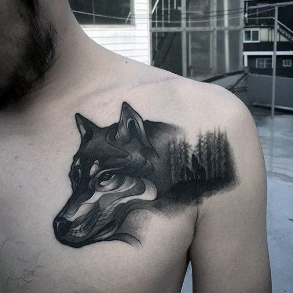 3d Wolf Chest And Shoulder Mens Animal Tattoos With Black Shaded Ink