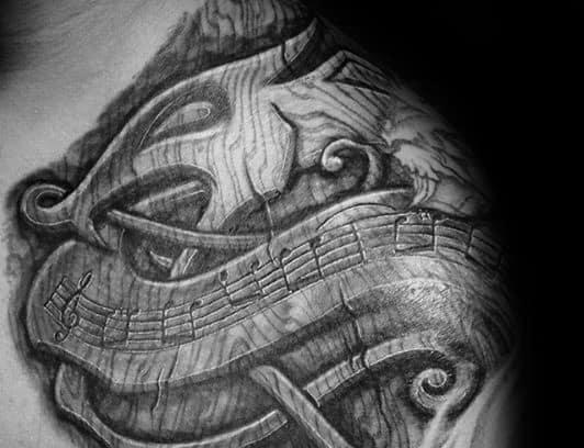 3d Wood Celtic Dragon Mens Shoulder Tattoo