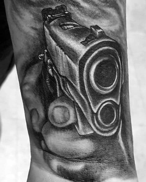 3d Wrist Sleeve Shaded Black And Grey Stylish Mens 1911 Tattoos