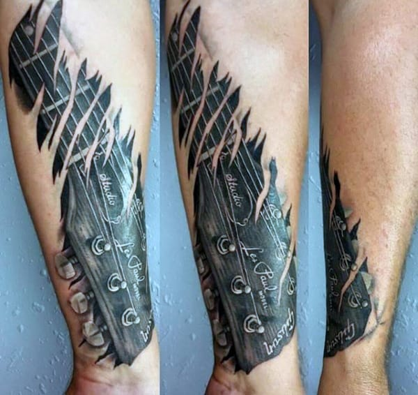 3D Wrist Tattoos Of Guitar For Guys
