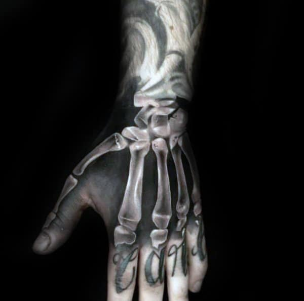 75 skeleton hand tattoo designs for men manly ink ideas. Black Bedroom Furniture Sets. Home Design Ideas