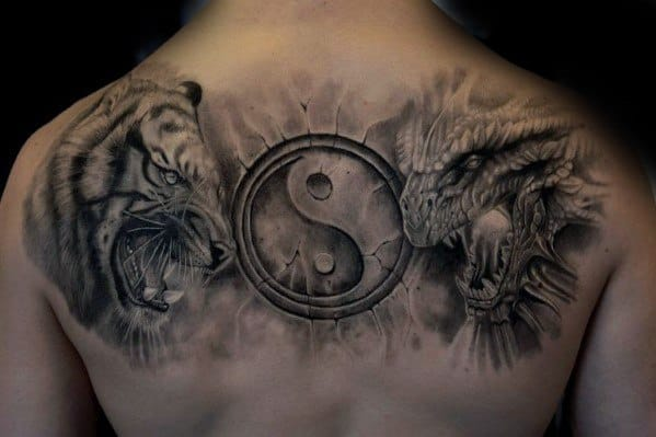 3d Yin Yang Symbol Tiger Dragon Tattoo Ideas For Males