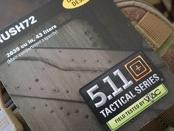 5 11 Tactical Rush72 Backpack Field Tested Tag
