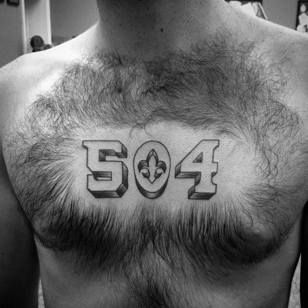 504 Mens Fleur De Lis Chest Tattoos