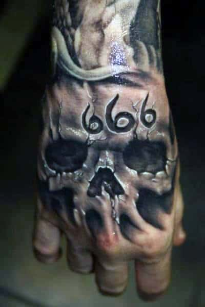 666 Mens Skull Hand Tattoo Designs