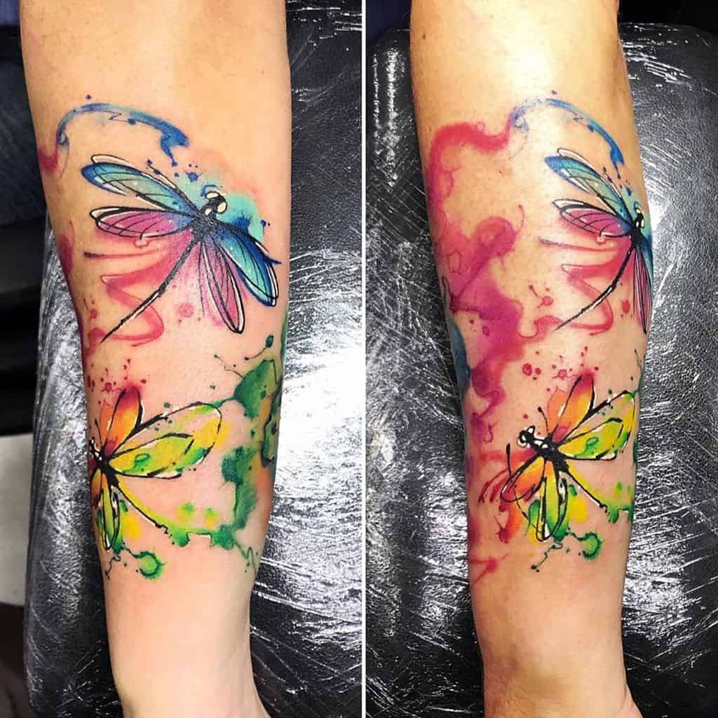 The captivating dragonflies flying around in the colors signifying independence and strength