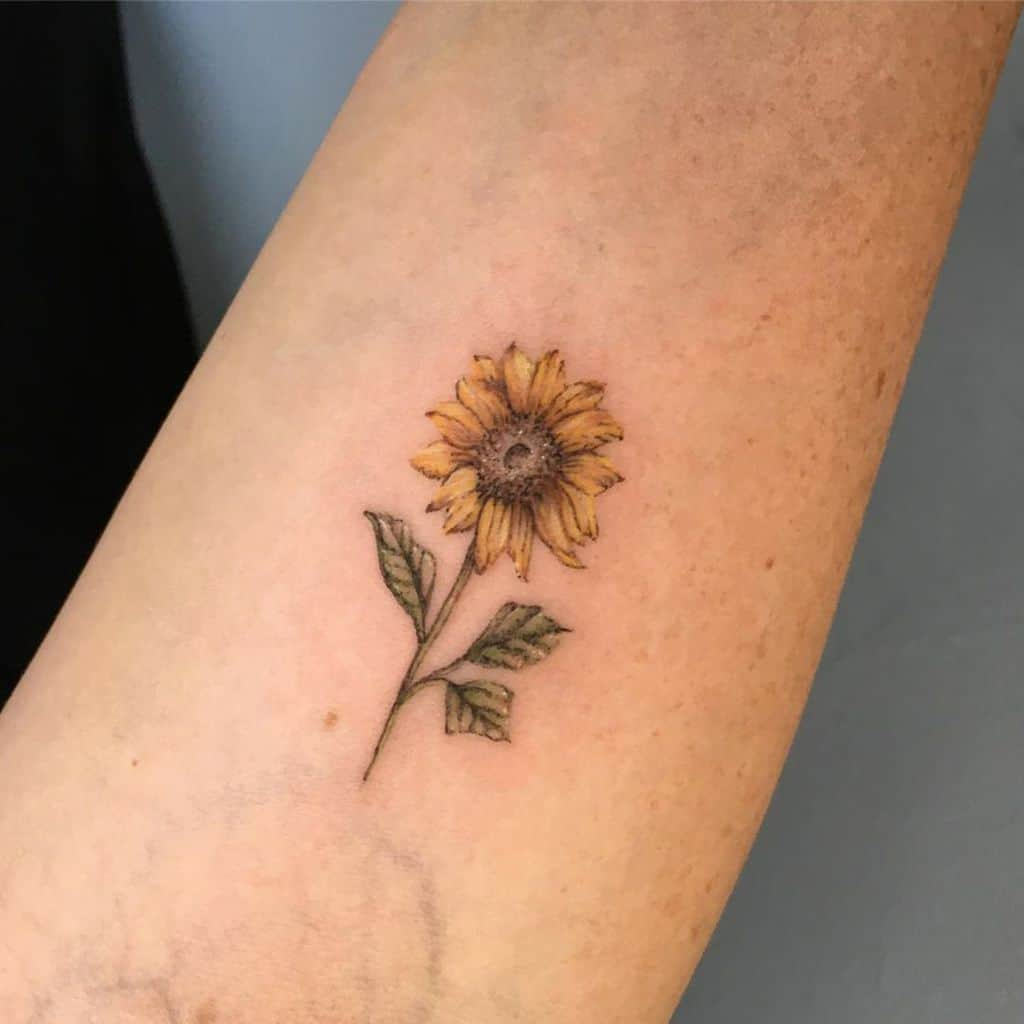small realistic colored tattoo on a woman's arm of a sunflower