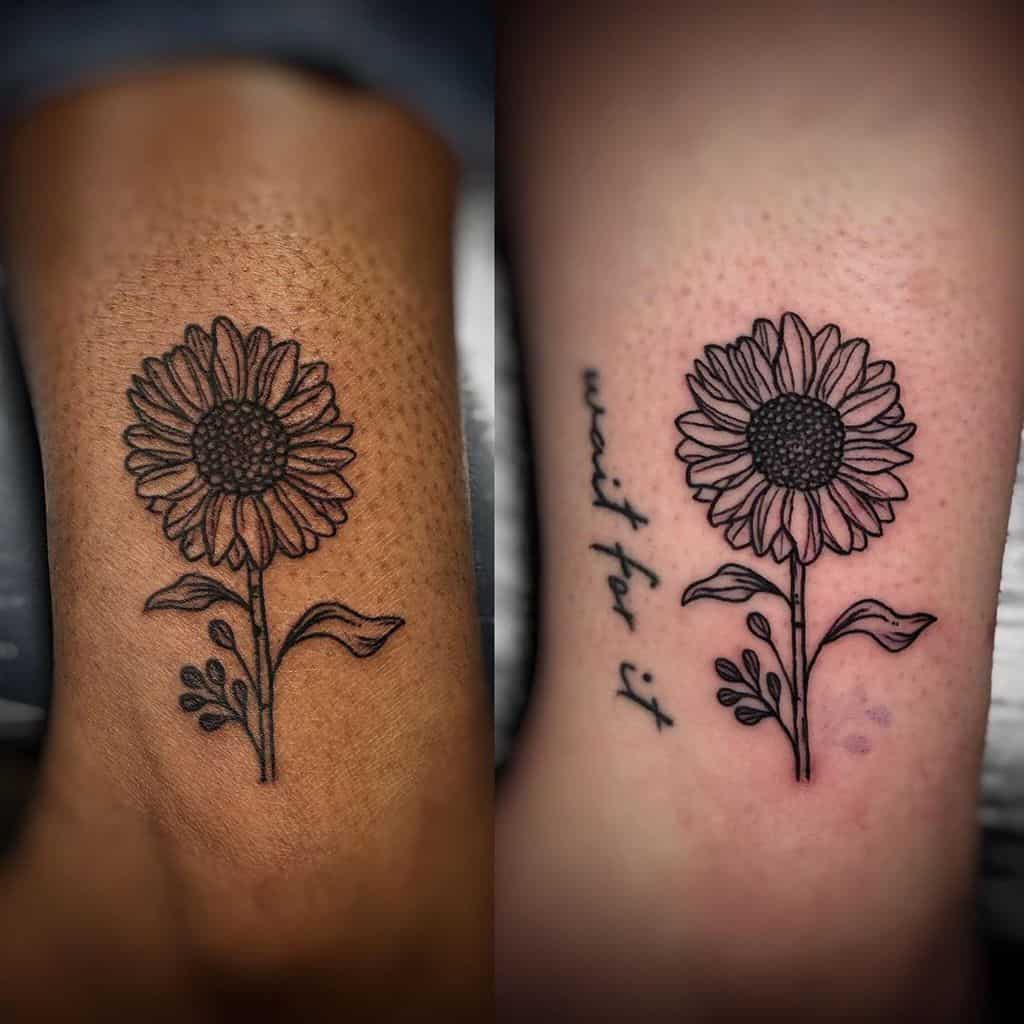 medium-sized black and grey matching line tattoos on two ankles of sunflowers with stems and leaves