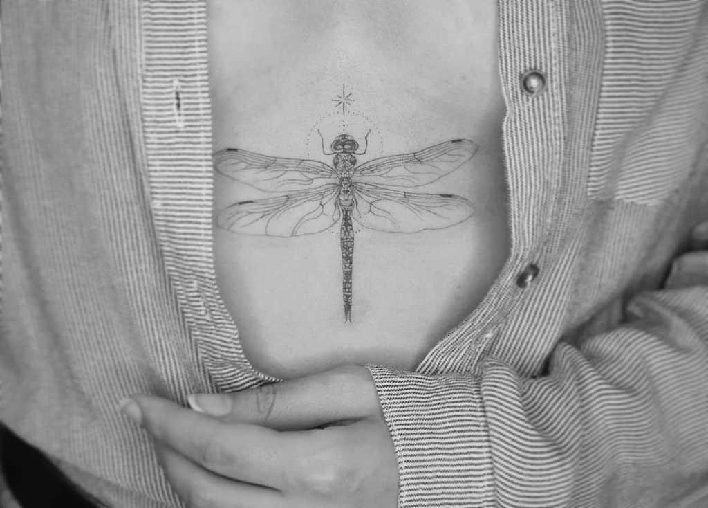 The specially crafted dragonfly resonating the sensitivity of the woman
