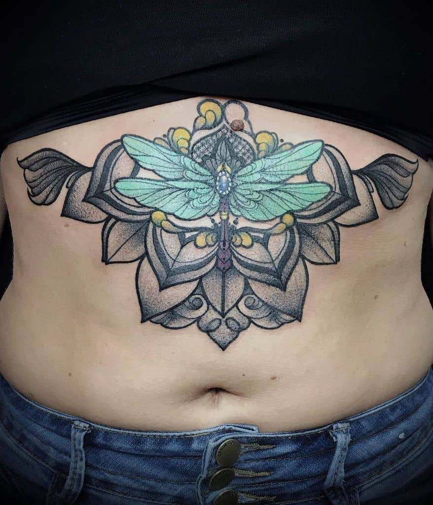 A hidden dragonfly in the depth of large petals looking sexy just over the belly button