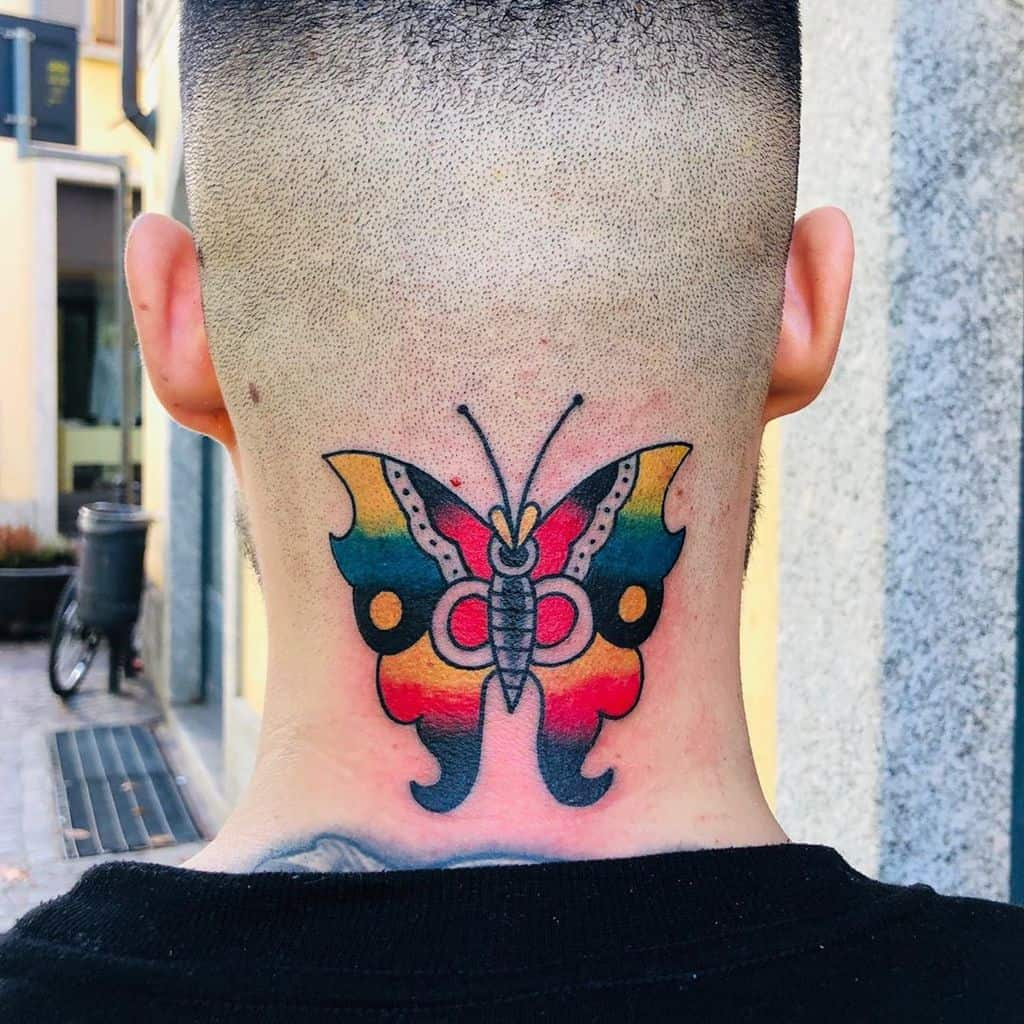 large color traditional tattoo on back of man's neck of a surrealistic butterfly