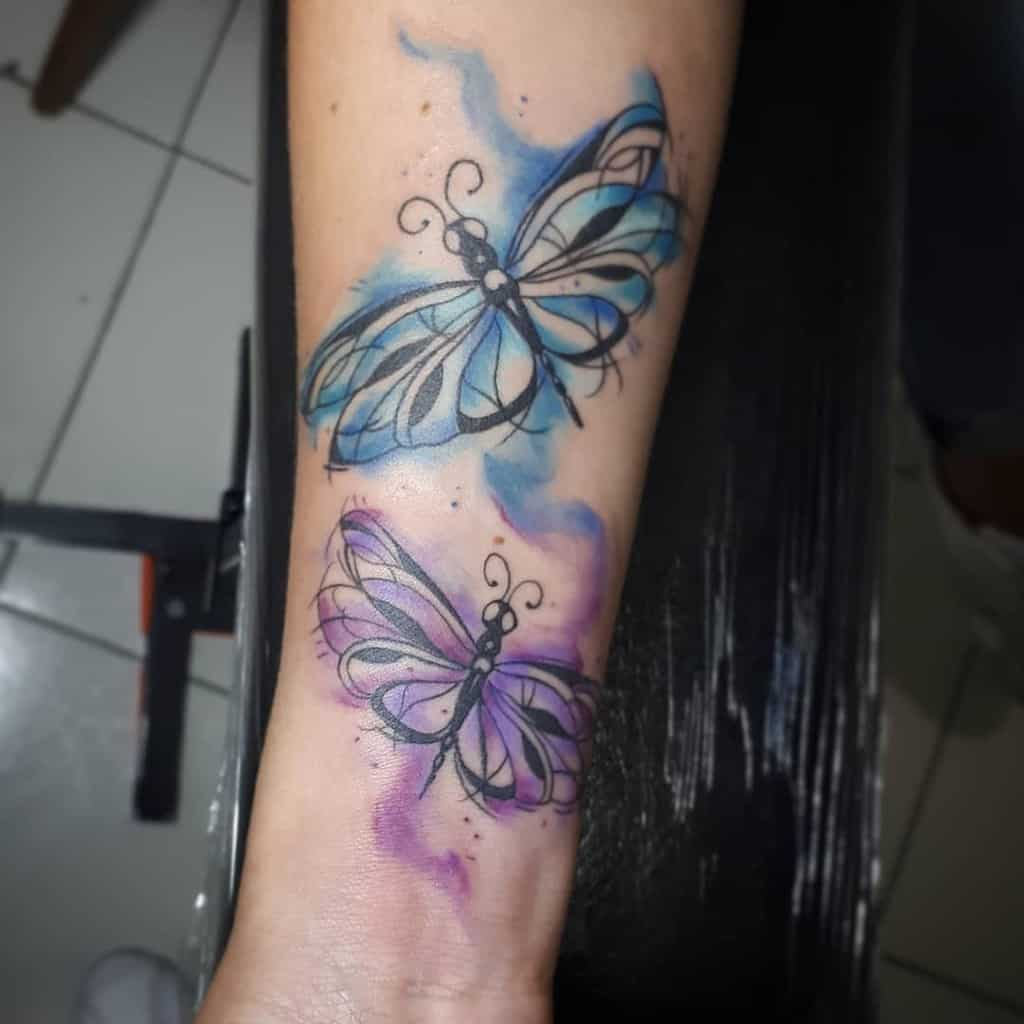 The independent dragonflies flying around in their blue and purple accents resonating the freedom