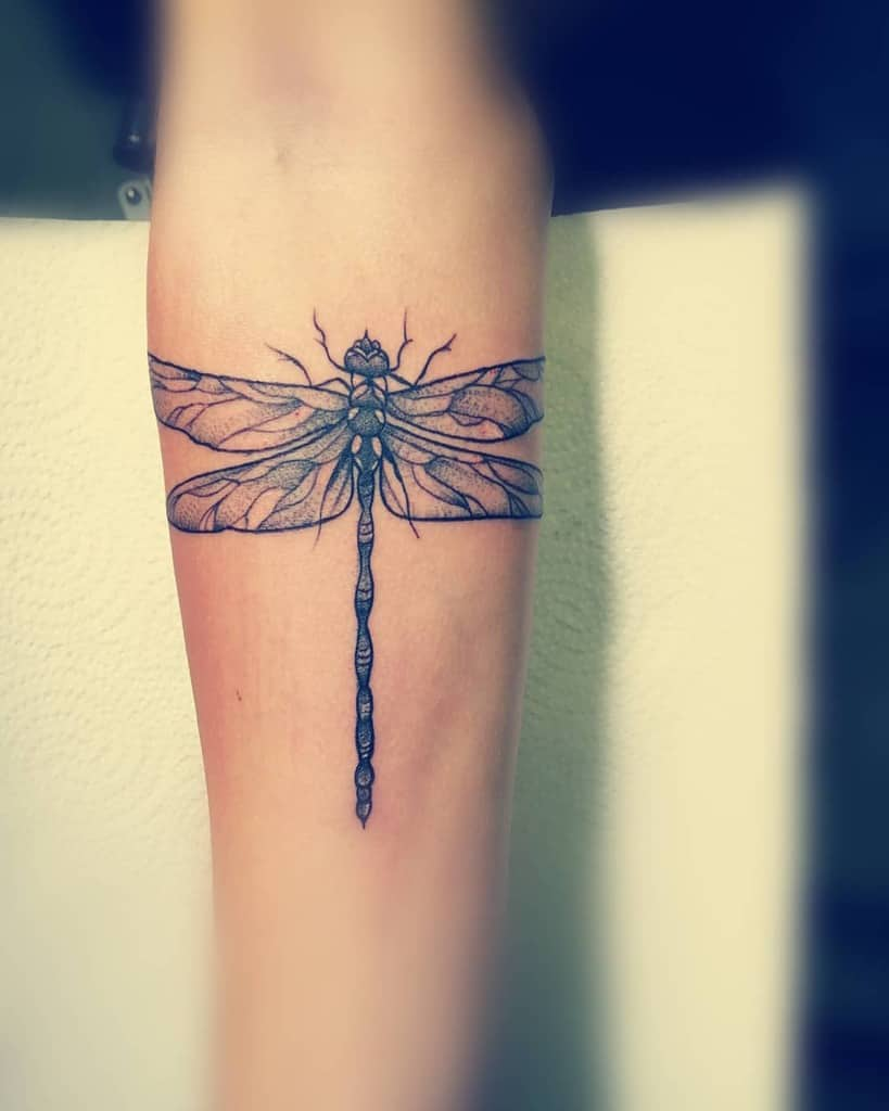 The aptly devised tail and wings of the dragonfly completing the dragonfly to pose a sense a fulfillment