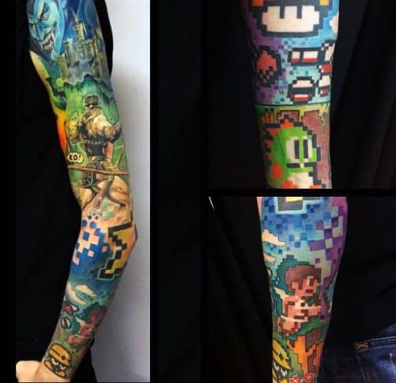 8 Bit Full Arm Sleeve Tattoo Design Inspiration For Males