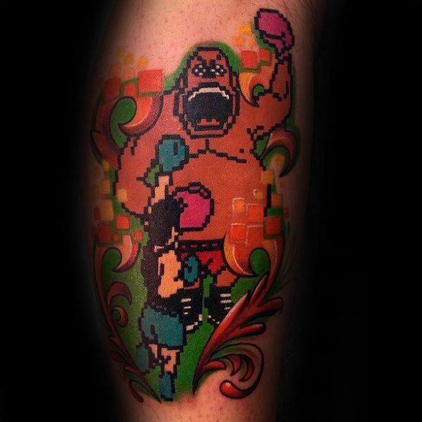 8 Bit Old School Guys Retro Leg Tattoo