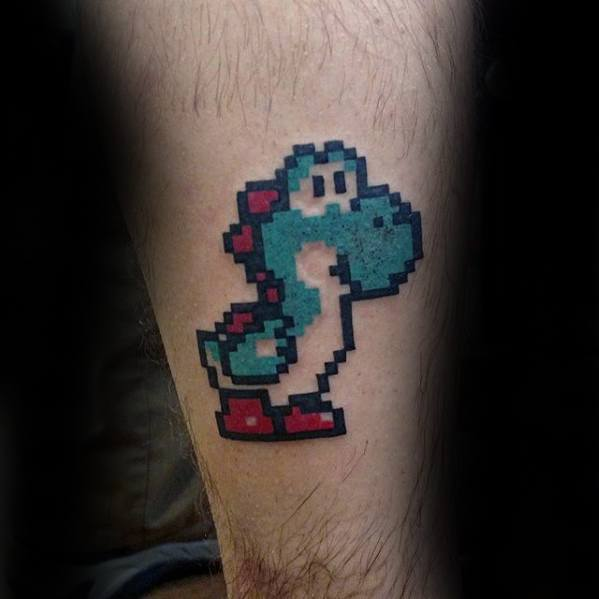 8 Bit Yoshi Mens Video Game Leg Tattoo