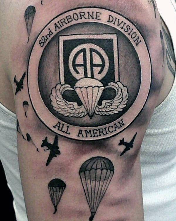 82nd Airbone Division All American Mens Army Parachute Upper Arm Tattoo