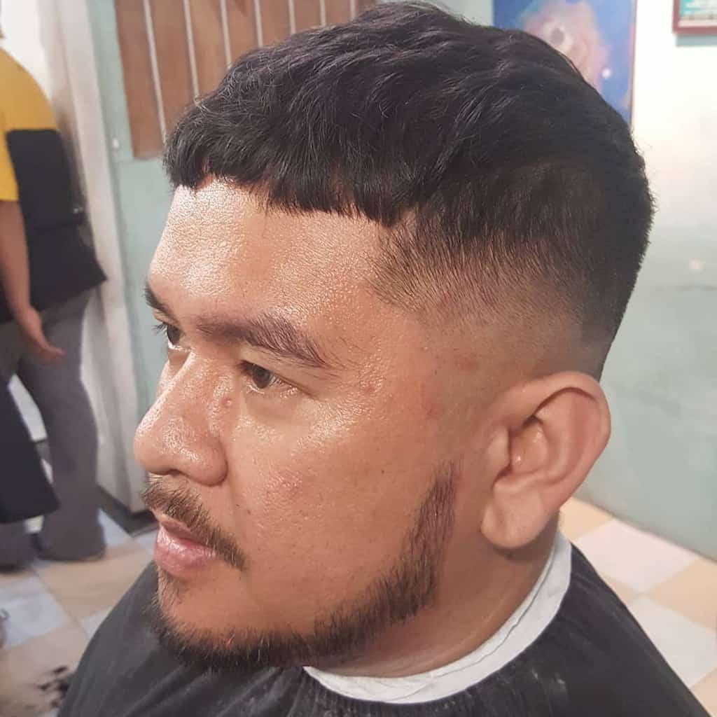 A Classic Caesar Haircut With Clean Hi Top Fade