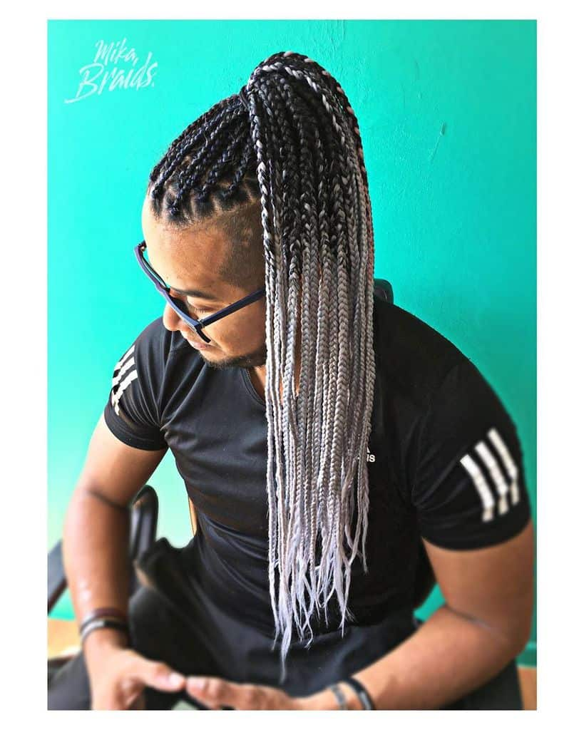 A Man Wearing Ombre Braids. If You Want You Can Opt For Multiple Shades